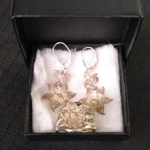 Silver Earrings and Ring Set